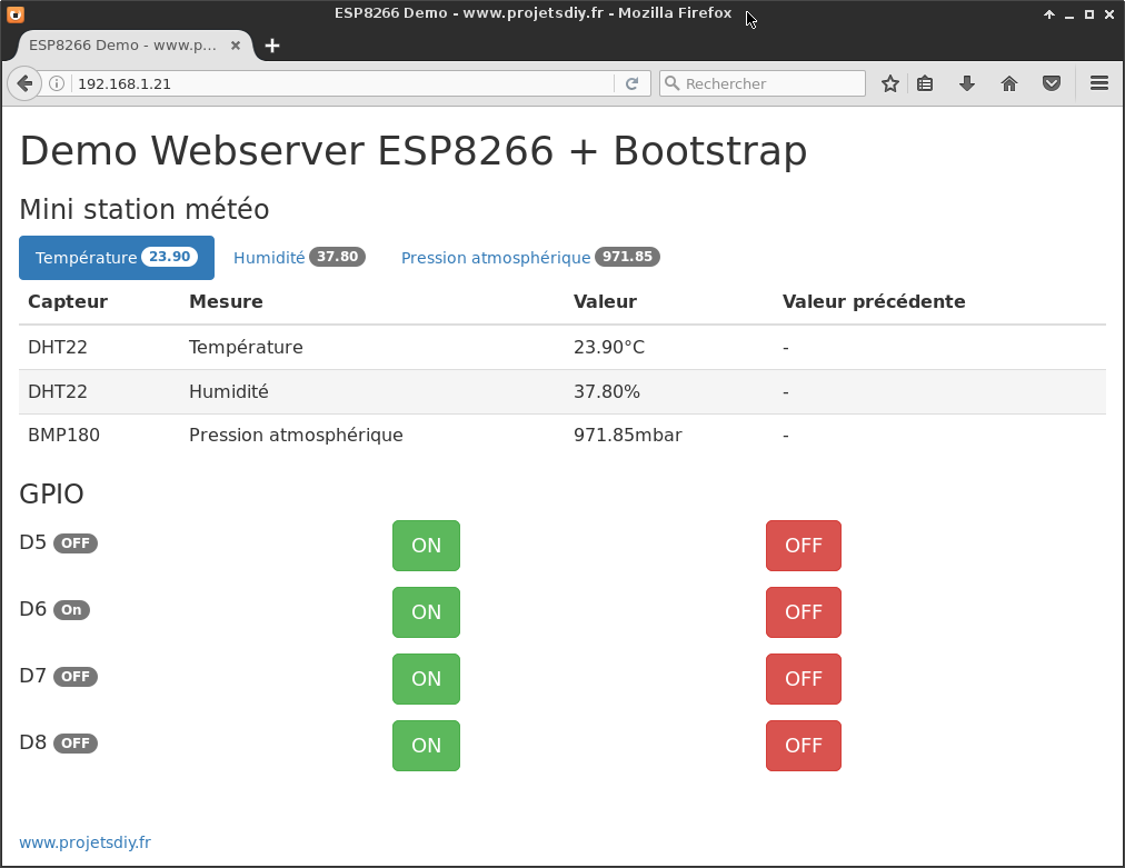 demo webserver esp8266 arduino bootstrap bouton table badge code html
